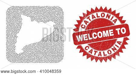 Vector Mosaic Catalonia Map Of Straight Arrows And Rubber Welcome Seal Stamp. Mosaic Geographic Cata
