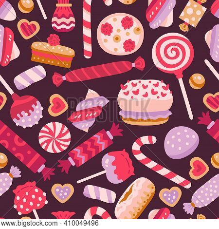 Valentine Day Sweet Seamless Pattern With Different Cupcakes. Sweet Pastries Decorated With Hearts,
