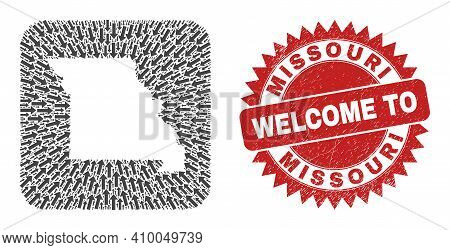 Vector Collage Missouri State Map Of Migration Arrows And Grunge Welcome Seal. Collage Geographic Mi