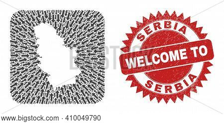 Vector Mosaic Serbia Map Of Migration Arrows And Grunge Welcome Stamp. Mosaic Geographic Serbia Map