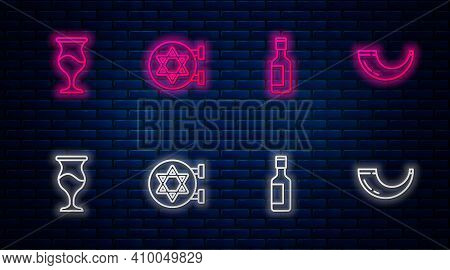 Set Line Jewish Synagogue, Wine Bottle, Goblet And Traditional Ram Horn, Shofar. Glowing Neon Icon O