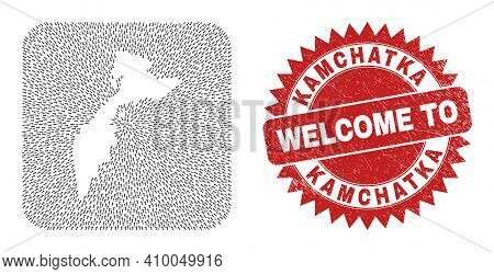 Vector Collage Kamchatka Map Of Pointing Arrows And Rubber Welcome Seal Stamp. Collage Geographic Ka