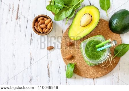 Healthy Diet And Nutrition, Vegan, Alkaline, Vegetarian Concepts. Green Smoothie With Spinach, Avoca