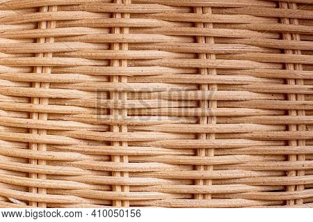Hand-woven Wave Weave Texture. Weaving Of Wooden Rods. Close-up