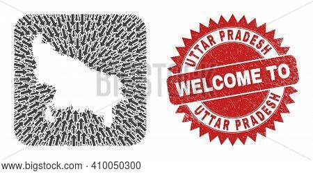 Vector Collage Uttar Pradesh State Map Of Movement Arrows And Rubber Welcome Stamp. Collage Geograph