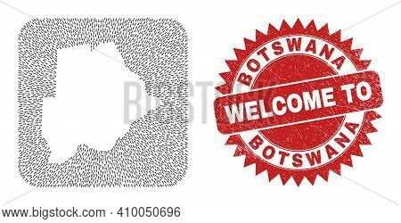 Vector Collage Botswana Map Of Pointer Arrows And Rubber Welcome Seal Stamp. Mosaic Geographic Botsw