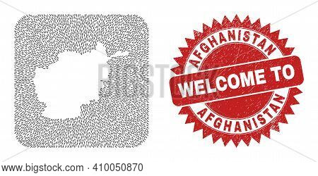 Vector Mosaic Afghanistan Map Of Movement Arrows And Rubber Welcome Seal. Mosaic Geographic Afghanis
