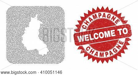 Vector Mosaic Champagne Province Map Of Straight Arrows And Rubber Welcome Badge. Mosaic Geographic