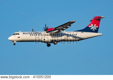 Vienna, Austria - July 7, 2018: Air Serbia Atr-72 Yu-alt Passenger Plane Arrival And Landing At Vien