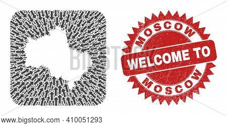 Vector Mosaic Moscow Region Map Of Pointer Arrows And Grunge Welcome Badge. Mosaic Geographic Moscow