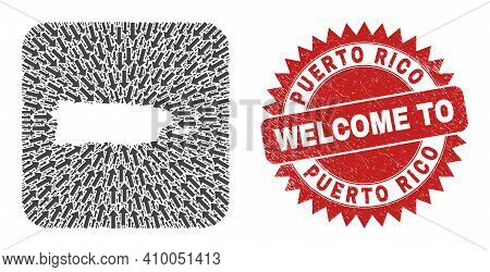 Vector Collage Puerto Rico Map Of Motion Arrows And Rubber Welcome Badge. Collage Geographic Puerto