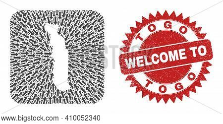 Vector Collage Togo Map Of Direction Arrows And Rubber Welcome Badge. Collage Geographic Togo Map Cr