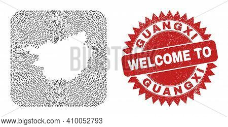 Vector Mosaic Guangxi Province Map Of Straight Arrows And Grunge Welcome Stamp. Mosaic Geographic Gu