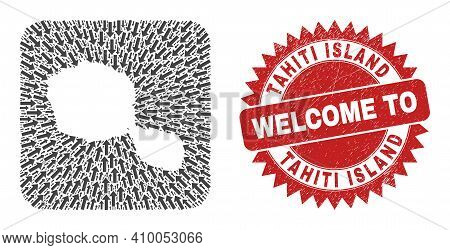 Vector Mosaic Tahiti Island Map Of Navigation Arrows And Rubber Welcome Seal Stamp. Mosaic Geographi
