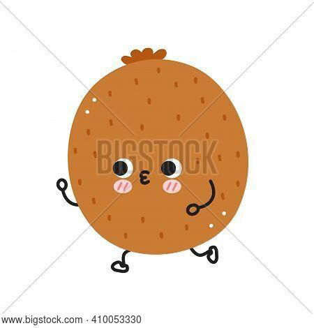 Cute Funny Kiwi Jogging. Vector Flat Line Cartoon Kawaii Character Illustration Icon. Isolated On Wh