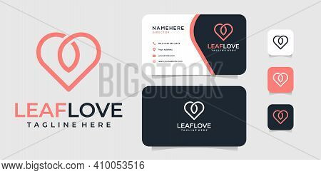 Love Leaf Monogram Logo And Business Card Design Vector Template. Logo Can Be Used For Icon, Brand,