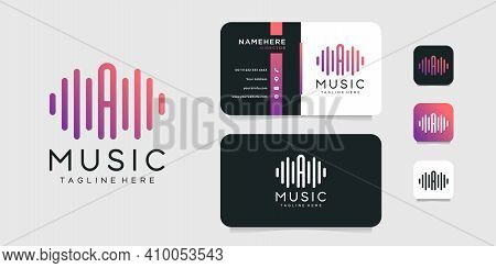 Letter A Music Logo And Business Card Vector Design Template. Logo Can Be Used For Icon, Brand, Iden