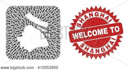 Vector Mosaic Shanghai City Map Of Straight Arrows And Rubber Welcome Seal. Collage Geographic Shang