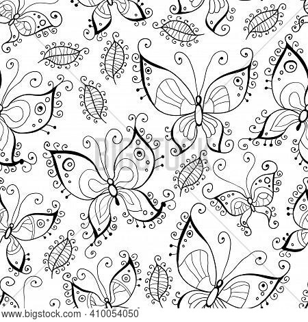 Seamless Floral Pattern With Outline Butterflies And Leaves Background. Abstract Contemporary Modern
