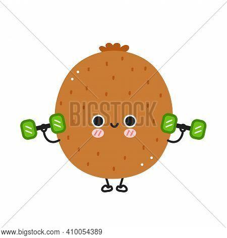 Cute Funny Kiwi Make Gym With Dumbbells. Vector Flat Line Cartoon Kawaii Character Illustration Icon