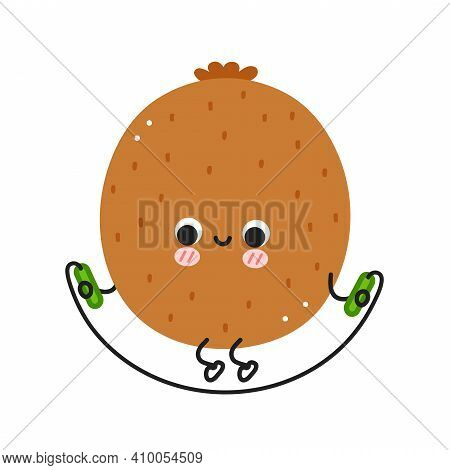Cute Funny Kiwi Make Gym With Jump Rope. Vector Flat Line Cartoon Kawaii Character Illustration Icon