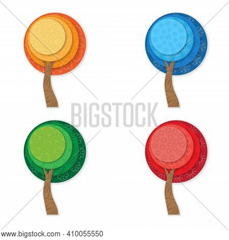 Four Season Tree Symbols With Shadows. Summer, Autumn, Winter And Spring Icons In Squares Buttons. O