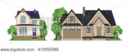 Set Of Different Styles Residential Houses. House Set. Collection Of Cottage, Modern Architecture.