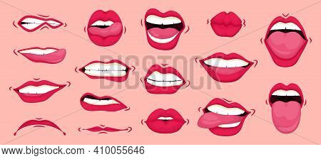 Mouth Animation Set. Mouths Pronounce Letters. Lip Movement. Females Mouth To Express Different Emot