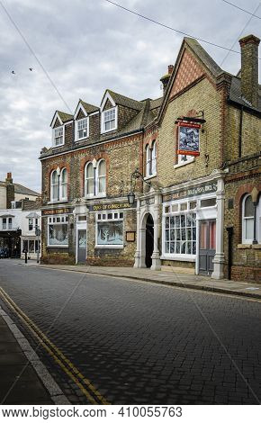 Whitsable, Kent, Uk, February 2021 - The Duke Of Cumberland Public House  And Hotel In The Seaside T