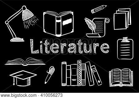 Set Of Chalk Hand-drawn Icons On The Theme Of Literature And Reading. Pictograms Of Open Book, Hat,