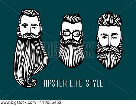 Set Of Hipster Heads With Beards. Hand-drawn Doodle. Vector Illustration - Stock Vector. Hand Drawn