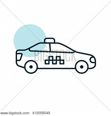 Taxi Car Flat Vector Icon. Graph Symbol For Travel And Tourism Web Site And Apps Design, Logo, App,