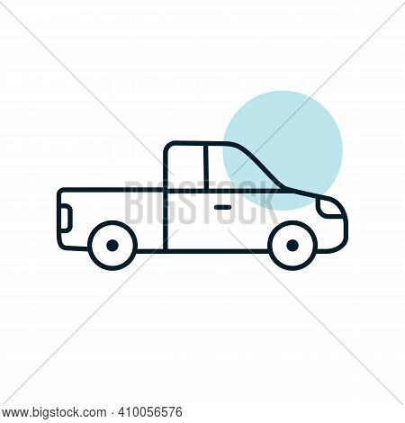 Pickup Car Flat Vector Icon. Graph Symbol For Travel And Tourism Web Site And Apps Design, Logo, App