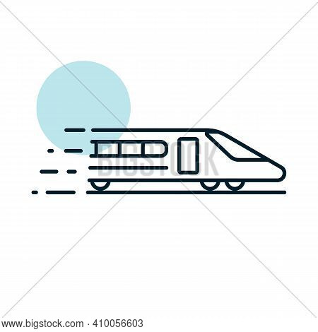 High-speed Passenger Train Flat Vector Icon. Graph Symbol For Travel And Tourism Web Site And Apps D