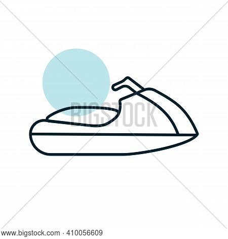 Jet Ski Water Sport Flat Vector Icon. Graph Symbol For Travel And Tourism Web Site And Apps Design,