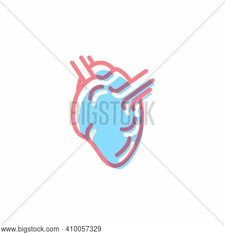 Heart Icon In Modern Colors On White