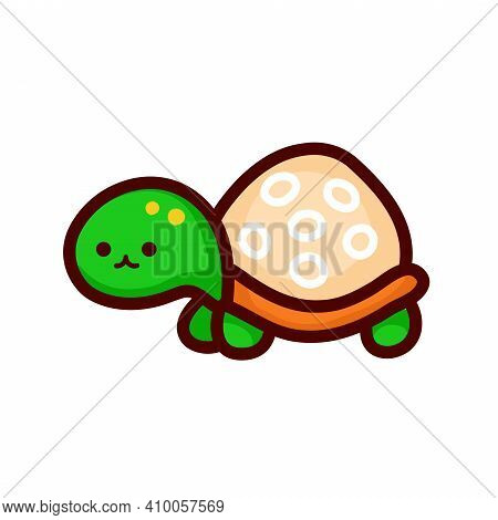 Cute Funny Turtle. Vector Flat Line Cartoon Kawaii Character Illustration Icon. Isolated On White Ba