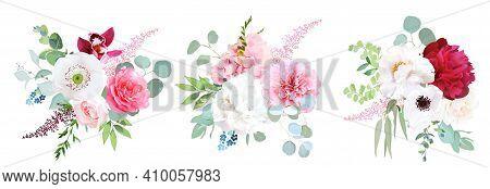 Pink Hydrangea, Rose, White Peony, Anemone, Ochid And Greenery, Flower, Ranunculus, Eucalyptus Big V