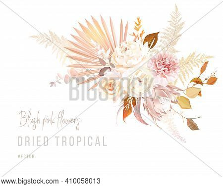 Trendy Dried Palm Leaves, Blush Pink And Rust Rose, Pale Protea, White Peony, Ranunculus, Carnation,