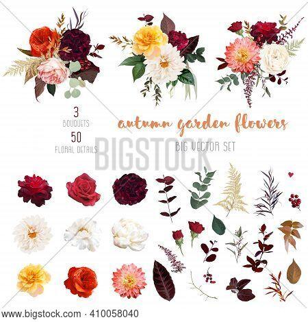 Autumn Garden Vector Design Big Set. Boho Chic Wedding. Warm Fall And Winter Tones. Orange Red, Taup