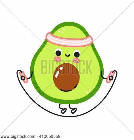 Cute Funny Avocado Make Gym With Jump Rope. Vector Flat Line Cartoon Kawaii Character Illustration I