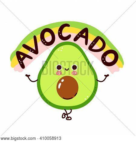 Cute Funny Avocado Character. Vector Flat Line Cartoon Kawaii Character Illustration Icon. Isolated