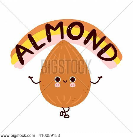 Cute Funny Almond Nut. Vector Flat Line Cartoon Kawaii Character Illustration Icon. Isolated On Whit