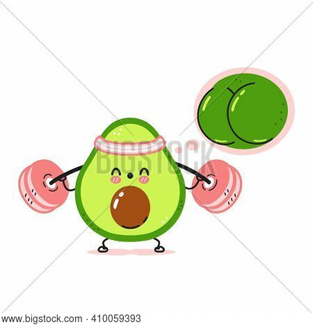 Cute Funny Avocado Make Squat Gym With Barbell And Dream About Strong Butt. Vector Cartoon Kawaii Ch