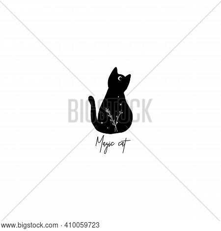 Cute Black Cat With Moon On His Forehead Line Art And Stars, Branch. Wiccan Familiar Spirit, Hallowe