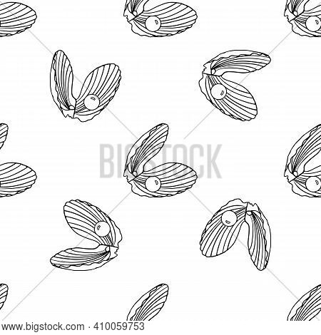 Beautiful Seamless Pattern Of Seashells With Pearls. Hand Drawn Illustration