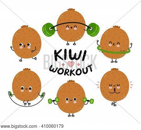 Cute Funny Kiwi Make Gym Set Collection. Vector Flat Line Cartoon Kawaii Character Illustration Icon