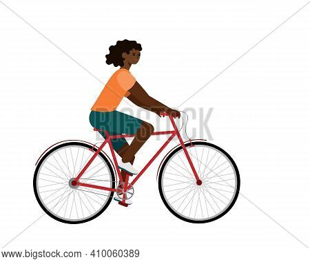 African American Rider On Bike. Woman In Bicycle Flat Vector Character