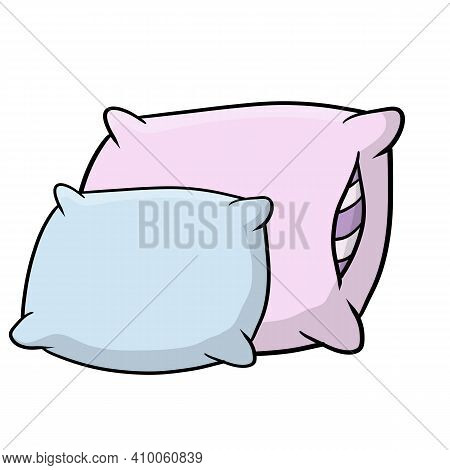 Set Of Pillows. Large And Small Object. Cartoon Flat Illustration. Soft Colored Cushions In Blue And