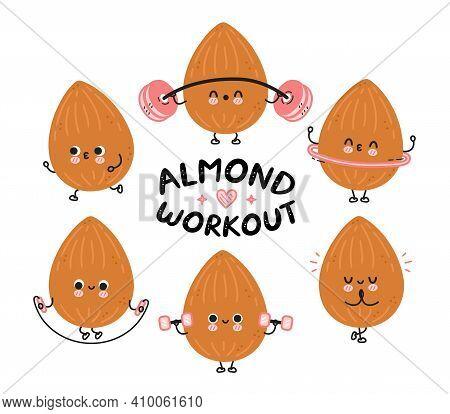 Cute Funny Almond Make Gym Set Collection. Vector Flat Line Cartoon Kawaii Character Illustration Ic